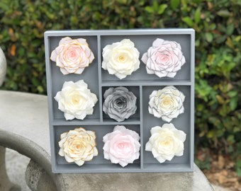 3D Floral Wall Art using Paper Roses - Colors are Customizable