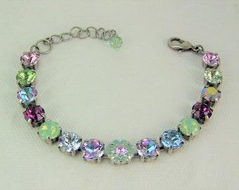 Swarovski Crystal Bracelet, Tennis Bracelet, Cup Chain Bracelet, Chaton Bracelet, Swarovski Flower Bracelet, Garden Crystal Bracelet, 39ss