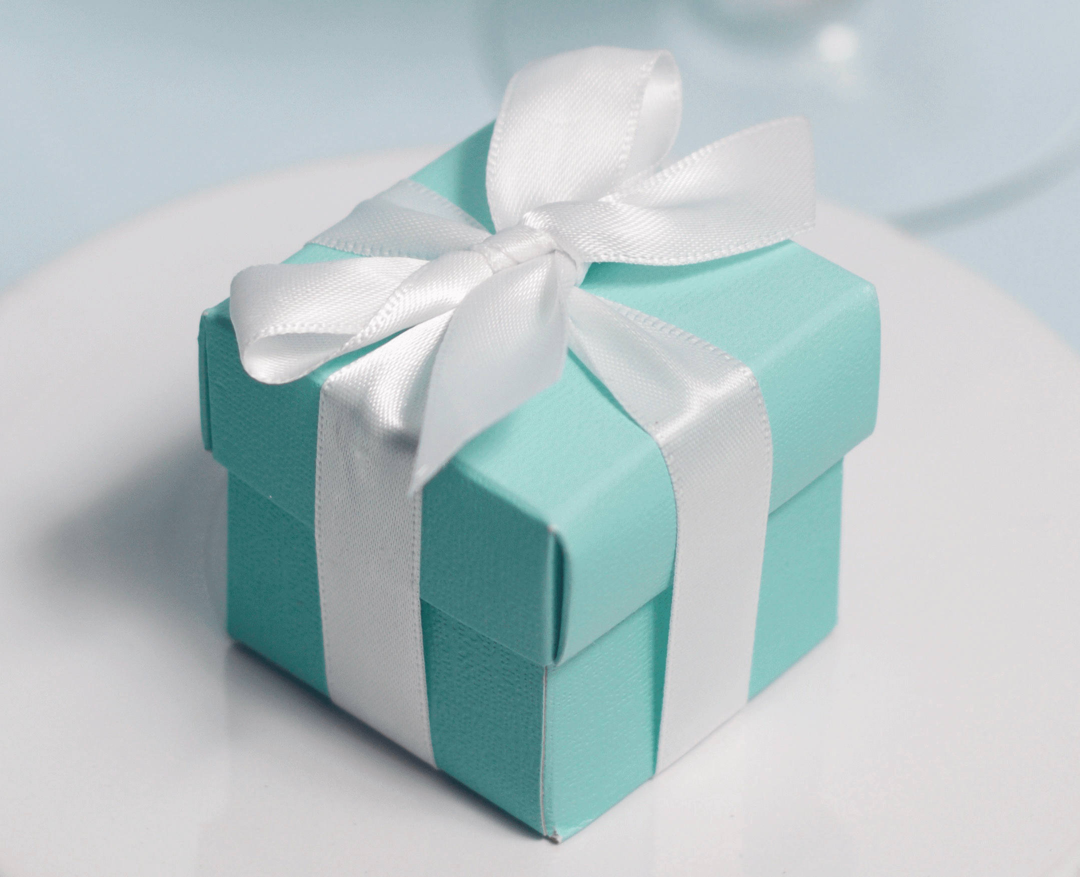 12 Tiffany Style Favor Boxes White Ribbons Included