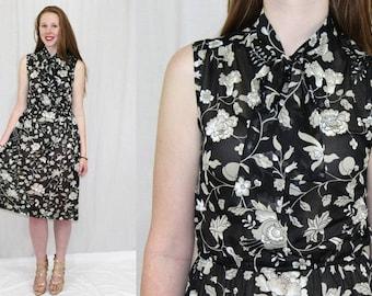 Vintage 80s Semi Sheer Black Floral ASCOT Tie Retro Summer Secretary Dress M