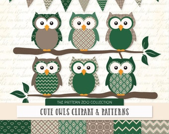 Patterned Emerald Owls Clipart and Digital Papers - Green Owl Clipart, Owl Vectors, Baby Owls, Cute Owls
