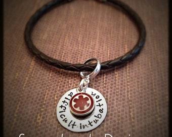 Medical Alert Bracelet Charm Holder - sterling loop & 1 sided disc - Medical Alert charm - fits European bracelet