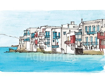Mykonos Cyclades Aegean Greece / art print from an original watercolor painting