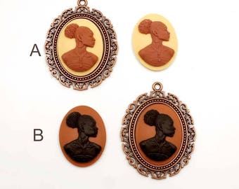 1 African Woman Cameo Cabochon With Antique Copper Setting - 31-18