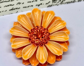Bright Orange Flower Brooch