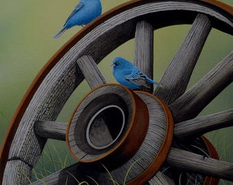 Simply Blue print, indigo buntings and wagon wheel