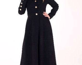 Long Black Coat, Maxi Coat, Plus Size Coat, Black Wool Coat, Oversize Coat, Women Wool Coat, Long Wool Jacket, Gothic Clothing