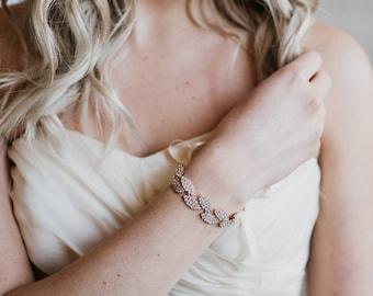 Rose Gold Bridal Cuff | Crystal Leaf Rhinestone Wedding Bracelet | Blush Bridal Bracelet | Gracie Bridal Cuff