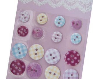 LOT 22 BUTTONS ADHESIVES GINGHAM FLOWERS PINK BLUE RED YELLOW SCRAP SEWING