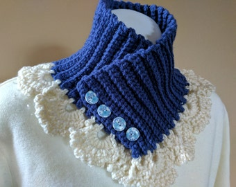 Lacy Neck Warmer Muffler Scarf Crocheted in Blue with Cream Trim