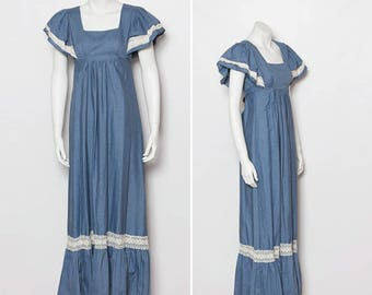 vintage 1970s maxi dress | chambray blue