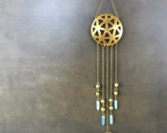 Geometric Mobile Raw Brass Raw Stone Amythest Points Moonstone Points Healing Crystals Jewelry For Your Home
