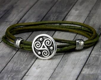 Triskele Leather Bracelet - Leather Wrap Bracelet - Leather Bracelet - Mens Leather Bracelet - Womens Leather Bracelet - St Patricks Day