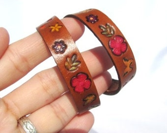 Double Wrap Flower Leather Bracelet