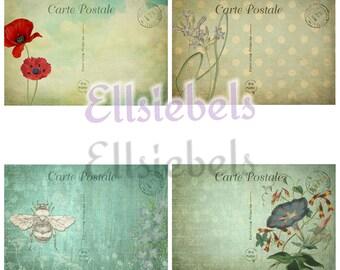 Vintage Postcard Ephemera, Vintage Ephemera, Digital Ephemera, Digital Journal Kit, Vintage Postcards, Floral Ephemera, Blue Ephemera, Cards