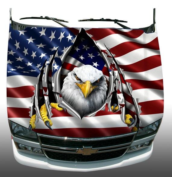 American Flag Eagle Rip Car Truck Hood Wrap Vinyl Graphic