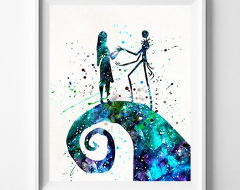 Tim Burton Print, Jack Skellington, Nightmare Before Christmas, Sally Art Print, Watercolor Art, Fathers Day Gift, Type 2, Fathers Day Gift