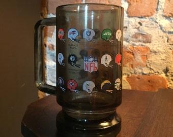 Vintage 1970s NFL Smoke Glass Mug