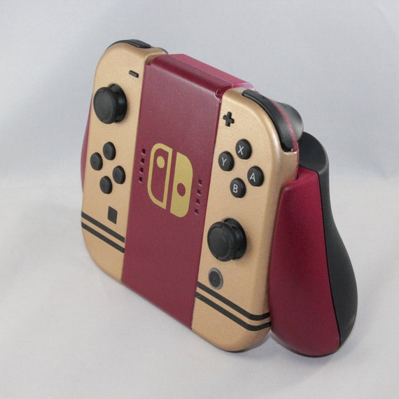 custom nintendo switch joycon controllers famicom themed paint job burgundy and gold vintage classic gaming