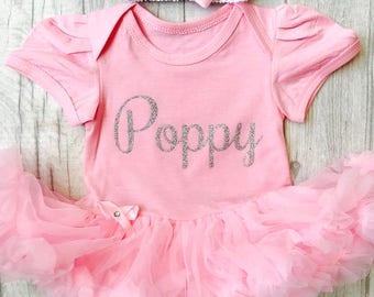 Personalised Name, pink tutu romper with headband, princess, baby girl, newborn, present, gift, mummys girl, daddys girl Love Cute Family