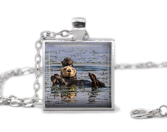 Sea Otter Necklace Sea Otter Jewelry Sea Otter Keychain Animal jewelry sea otter gift cute otter lover gift