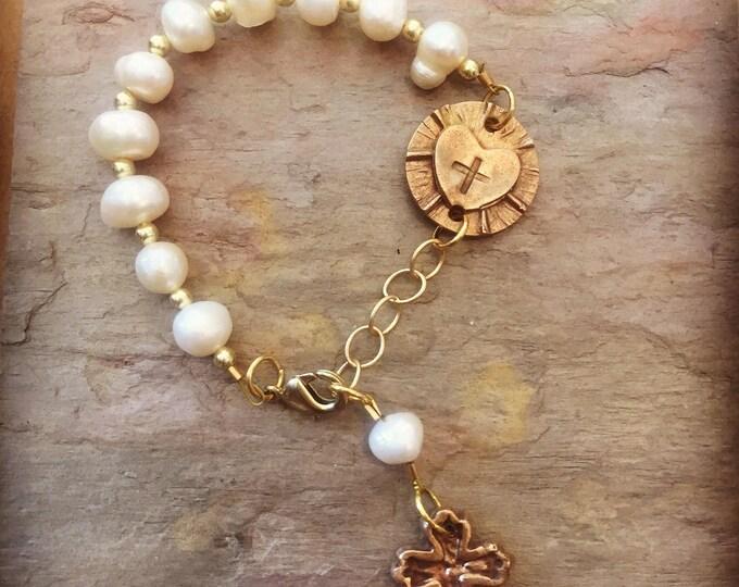 Rosary Bracelet, Rosary Jewelry, Catholic Jewelry, Rosary, Confirmation, catholic rosary, pearl rosary, pearl rosary bracelet, catholic brac