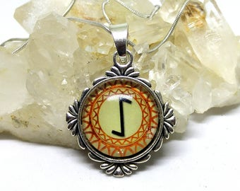 Sowilo Rune Pendant Viking Divination Glass Dome Talisman Rune Necklace Guidance Goal Setting Success Rune Symbol Norse Jewelry