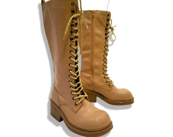 Tan 90s chunky knee high lace up boots