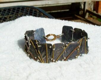 Modernist Bracelet Sterling Silver Brass Copper Links Artisan Abstract 1970's 1980's Vintage