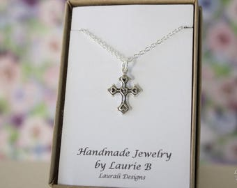 Cross with Hearts Charm Necklace, Friendship Gift, Sterling Silver, Bestie Gift, Silver Cross Charm, Religious Necklace, Thank you card