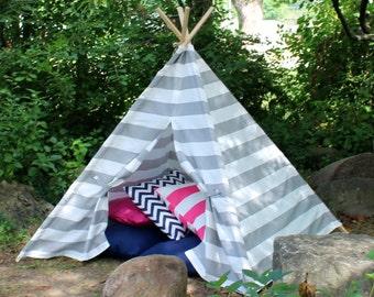 Gray Stripe Kids Teepee, Play Tent, Teepee, Childrens Teepee, Tee Pee, Playhouse, Tee Pee Tent, Kids Tent, Tent, Tent for Kids, Bedroom Tent