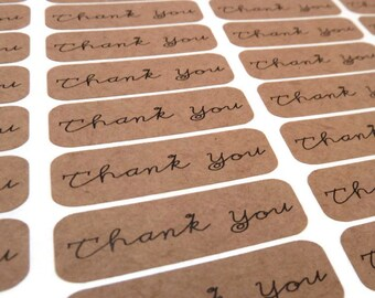 Kraft Stickers - 60 Count - Thank You Stickers - Kraft Labels - 1.75 in x 0.5 in. - Product Sticker - Wedding Favor Sticker