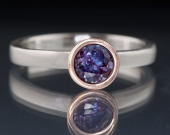 Chatham Alexandrite Rose Gold Bezel Solitaire Engagement Ring, narrow brushed Band in Palladium, Platinum or White Gold, Mixed Metal Ring