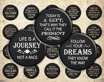 Inspirational Quotes on Chalkboard/Blackboard - 30mm, 25mm (1 inch) & 20mm circles - Digital Collage Sheet for Bezel Cabochon Pendants