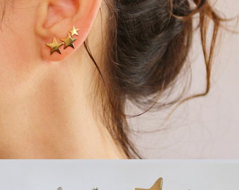 Star ear cuff ,  Gold earrings , Ear Climber , 3 Stars , 18K gold plated , Sterling Silver , Nickel free jewelry , graduation gift