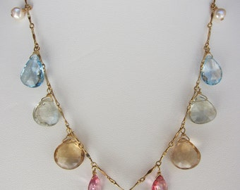Blue Topaz, Pink Topaz, Champagne Citrine, Green Amethyst, Pearl Handmade Necklace with14K Gold Chain