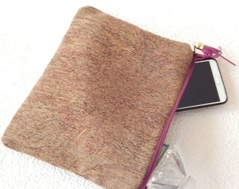CLEARANCE - Purple multi pouch,  zipper pouch for makeup, lined tapestry clutch for travel essentials