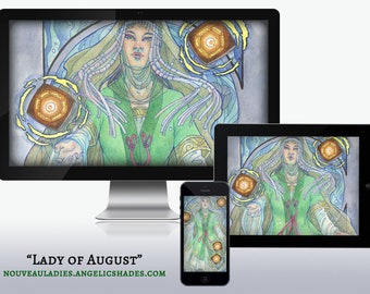 Lady of August Art Nouveau Floating Lanterns and Poppies Birthstones Birth Flowers Wallpapers for Desktop, Phone, and Tablet