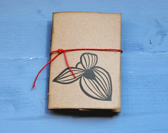 """Handmade mini notebook with recycled paper, handprinted mini journal, writers journal, gift for her, """"ginestra"""""""