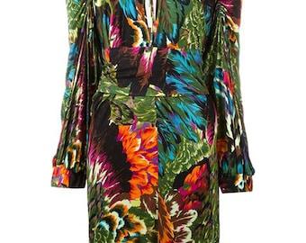 Multicolor jungle print Kenzo Catwalk Dress 1990s