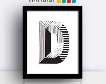 Letter D print - hand drawn typeface
