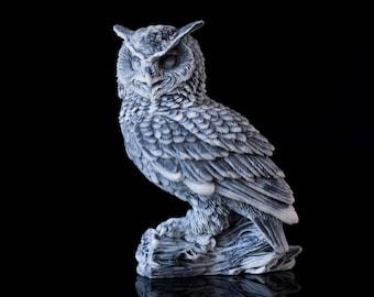 Marble Owl Figurine Russian Art Miniature Handmade Animal Statuette Collectible  Owl Bird Sculpture