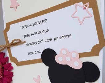Personalised Special Delivery! New Born Baby Girl Boy Card Label Pink Blue Mickey Minnie Handmade Name Date Weight Time NB10
