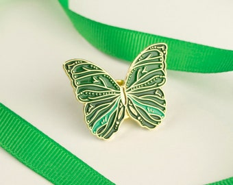Butterfly Pin Emerald Green / Soft Enamel Pin / Butterfly Enamel Pin / Cute Pin / Butterfly Gift / Animal Pin / Mariposa Pin Badge