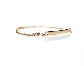 14K Diamond ID/Bar Double Chain Bracelet - Made To Order