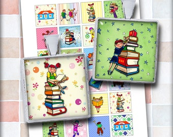 School Kids Square Images for Magnets, Pendants and other projects Digital Collage Sheet Instant Download