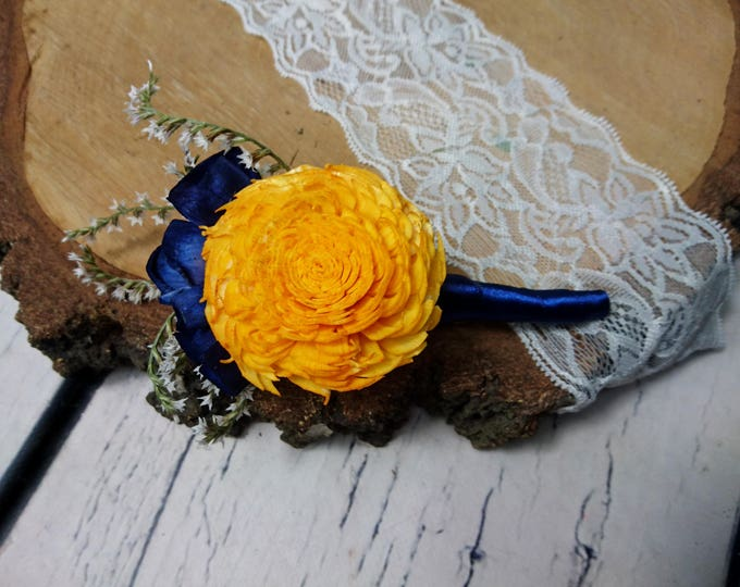 Sunny yellow navy rustic wedding Rustic BOUTONNIERE groom groomsman Sola Flower dried limonium satin ribbon Wedding Flowers
