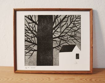 house 4 · original linocut · Limited Edition · DIN A4