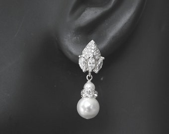 Pearl Drop Earrings Bridal Earrings Pearl Earrings Vintage Inspired Art Deco Pearl Earrings