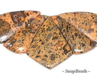 Orange Impression Jasper Gemstone Orange Brown Loose Beads Graduated Set 5 Beads (90147434-147)
